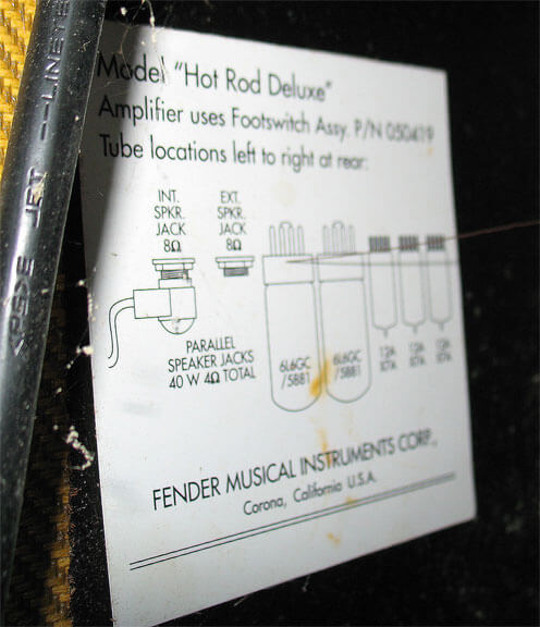 Fender USA Hot Rod Deluxe チューブチャート