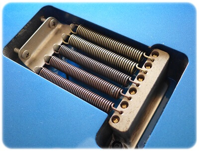 高音弦側にESP TREMOLO TONE SPRINGS Type-1、低音弦側にESP TREMOLO TONE SPRINGS Type-2
